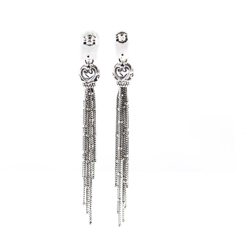 wholesale vintage Sterling Silver Enchanted Tassels earring Stud long Earrings silver 925 Jewelry For Women men Fashion Charms