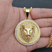 Hip Hop Charm Iced Out Bling Golden Lion Head Pendants Necklaces Male Gold Color Stainless Steel Chain Rock Jewelry Gift For Men(China)