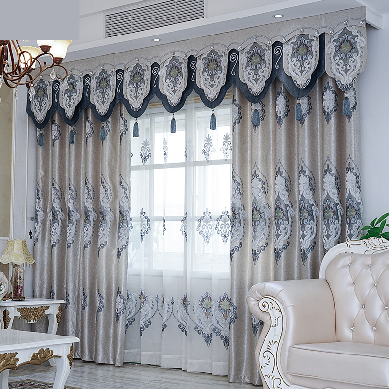 Custom Curtains High Class  European Luxury Blackout Curtains Bedroom Noble Embroidery Blackout Curtain Tulle Valance N166