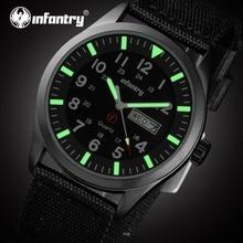 Infantry hombres relojes de cuarzo militar durable ultra fino nylon 24hrs display reloj luminoso deporte relojes relogio feminino