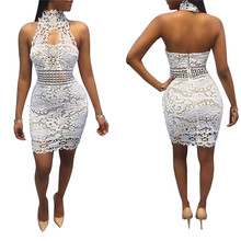 Adogirl 2018 Hot Sale Strapless Halter Lace Dress Sexy Sleeveless Open Back Sheath Bandage Mini Dress Bodycon Club Wear Vestidos(China)