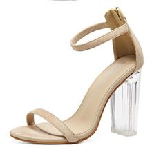Women Sandals Ankle Strap  Perspex High Heels Clear Crystal Concise Classic Buckle Strap High Quality Fashion Shoes Woman