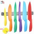 FINDKING Colorido utensilios de cocina Antiadherente Cuchillo Conjunto con 13 ''pulgadas afilador de cuchillos Portacuchillos magnético y un regalo como un conjunto