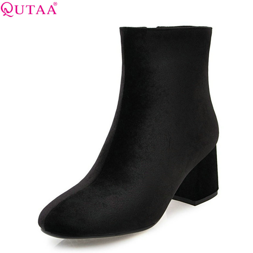QUTAA 2018 Women Ankle Boots Flock Square High Heel Women Shoes Fashion Square Toe Zipper All