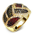 DC1989 Women Colors Leaves Style Cocktail Rings Red Green Synthetic Cubic Zirconia Rhodium or Gold Plated Lead Free Size 5 to 10