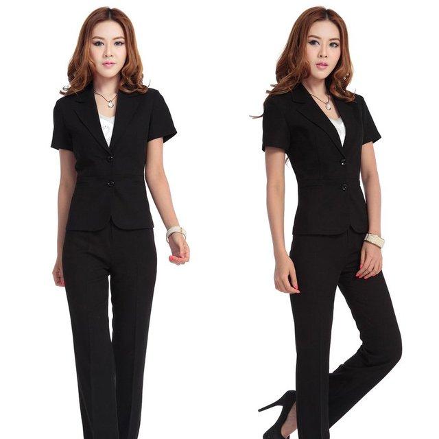 suit 2 pc short sleeve suit blazer & long pants,black