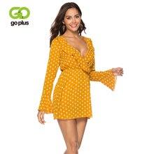 GOPLUS Polka Dot Chiffon Dress Women Sexy Ruffles V Neck Flare Sleeve Midi Lady 2019 Spring A-line Elegant Vestidos Female