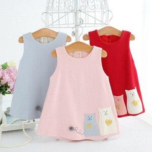Image 2 - 最新幼児赤ちゃんの誕生日パーティードレス洗礼イースター漫画の幼児王女の花のドレスのための 0 2 年 3 色