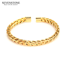 SEVENSTONE 2019 New Wholesale Foreign Trade Titanium Steel Jewelry Twisted Wire Open Bracelet Simple Accessories for Women