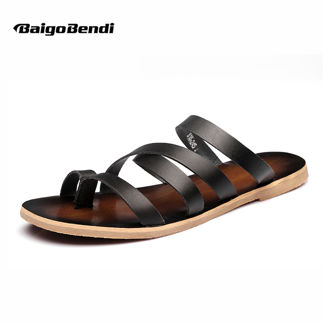 ed395358a0c US Size 6-10 NEW Leather Like Casual Top-Thong Flip Flops Mens Cross-strap  Roman Gladiator Sandals Slide Shoes