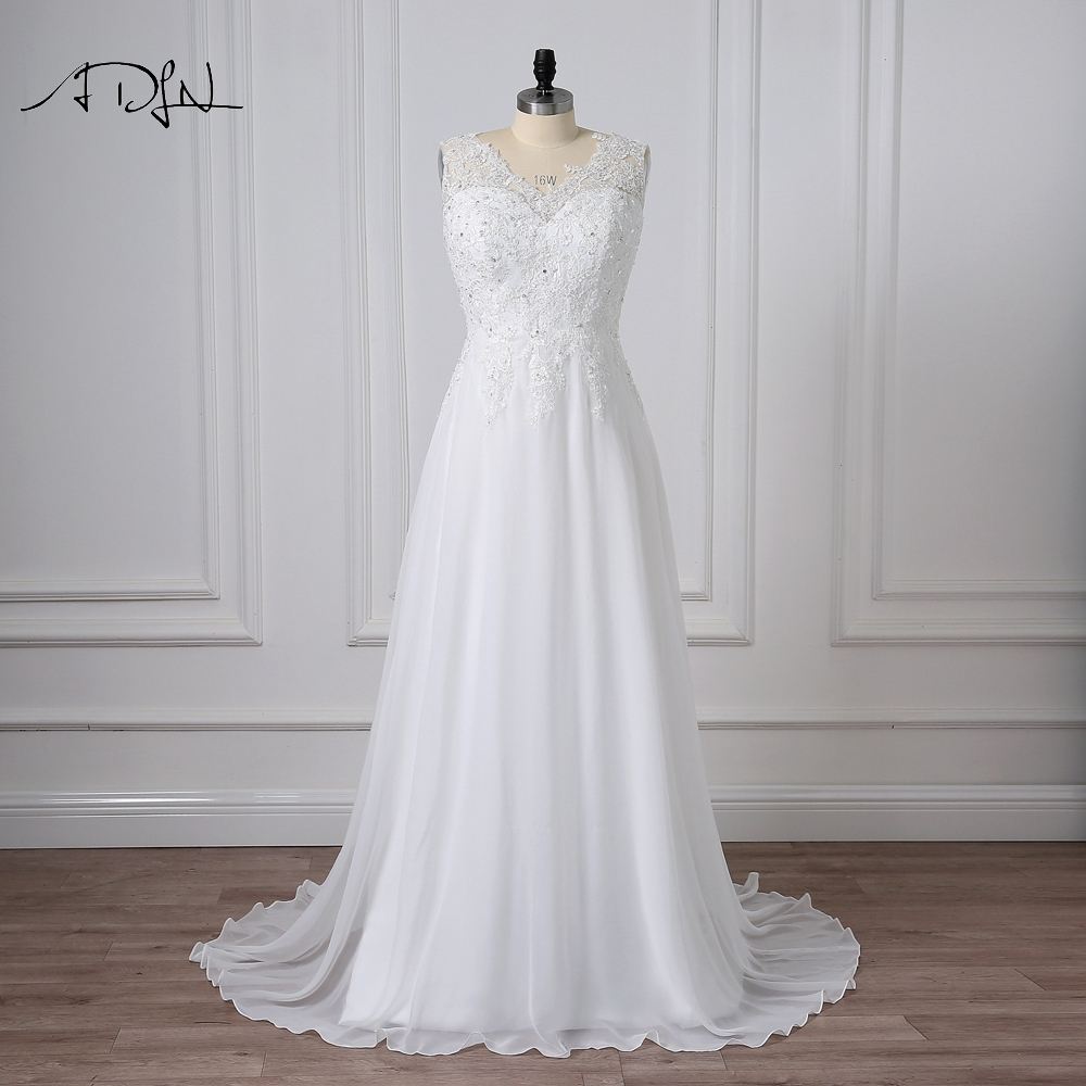 ADLN بالإضافة إلى حجم فساتين الزفاف الخامس الرقبة بلا أكمام appliqued مطرز أنيقة مخصص الشيفون شاطئ ثوب الزفاف vestidos دي novia