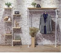Clothes store display rack floor to ceiling island jewelry rack simple women's clothing store white solid wood shoe bag clothes