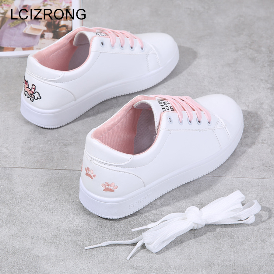 LCIZRONG 2019 New Cute Women Casual Shoes Cat Lace Up White Vulcanize Shoes Woman 3 Colors Cartoon Travel Walking Flat Shoe