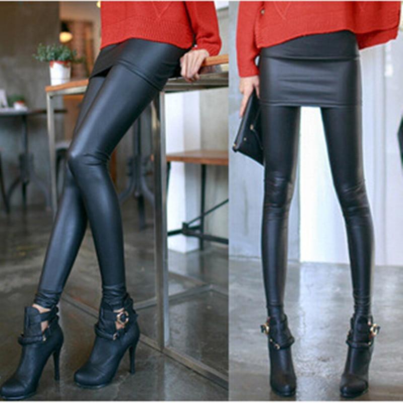 Perfect Piece Women Skirt Leggings Autumn Fashion Solid Footless Legging Skirt