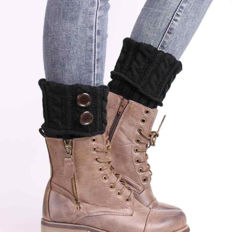 2018 Warm Vrouwen Beenwarmers Ankle Gebreide Haak Button Manchetten Toppers Korte Boot Sokken Vrouwelijke Meisjes Winter Boot Sokken