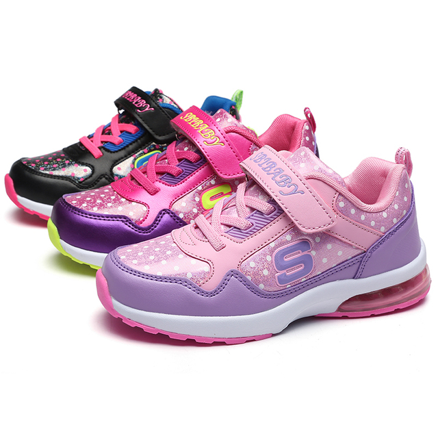 2017 fashion girl shoe Beautiful kids children's shoes for girls and boys red black sport child casual footwear Maxs size 37