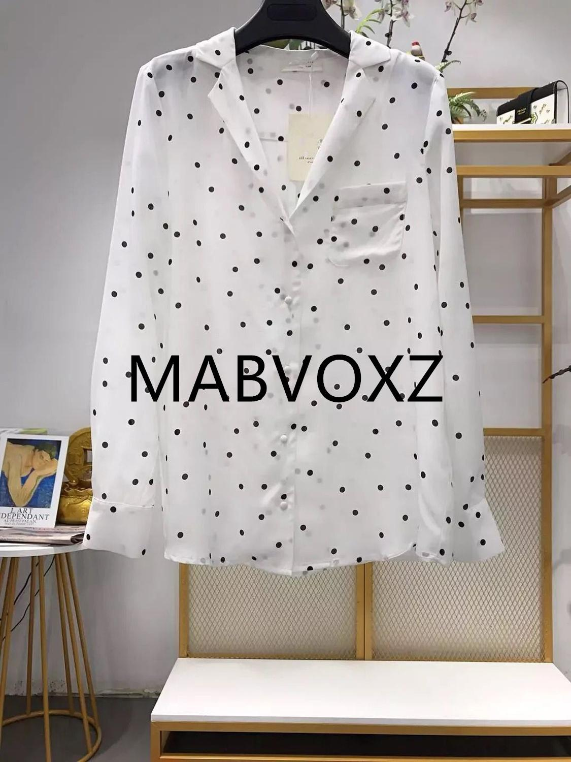2019 New Women Silk Polka Dot Print Blouse Long Sleeve Front Pocket Shirt
