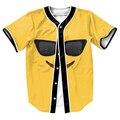 Смайлики Очки Джерси с кнопки футболки 3d желтый топы Хип-Хоп мужские рубашки забавный повседневная наряды