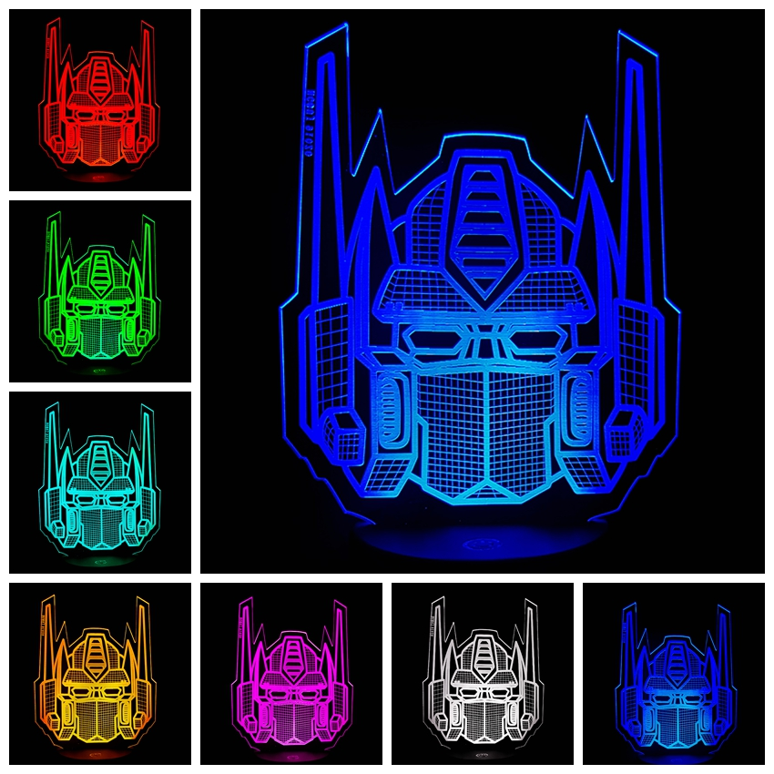 Amroe 2018 3D Optimus Prime Character Boy Gift Transformers Illusion Desk Table RGB Led Night Light Colorful Lamparas Lamp Child рюкзаки transformers prime сумка рюкзак для обуви transformers prime