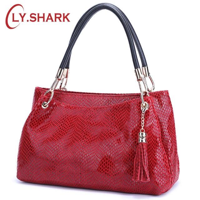 LY SHARK Women Handbag Genuine Leather Bag Female Famous Brand Women Shoulder Bag Serpentine Pattern Hand