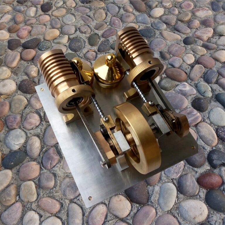 Modèle de moteur Stirling tout métal Miniature Double cylindre générateur d'aspiration Machine à vapeur jouet expérimental scientifique
