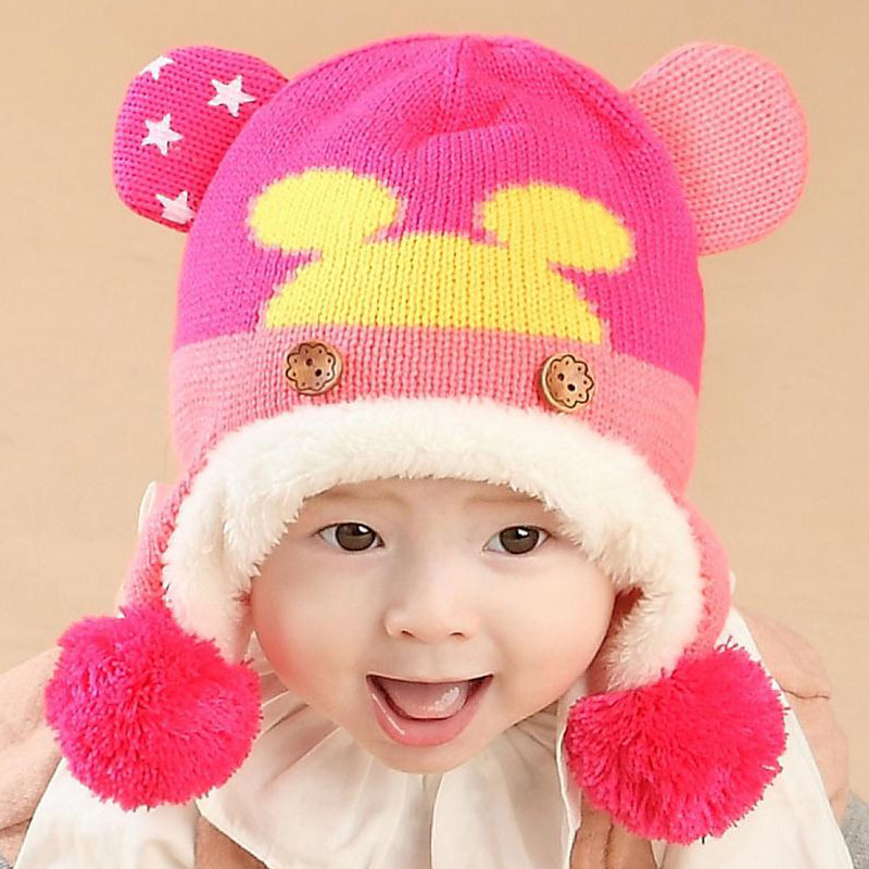 2016 Cartoon Style double ears Children knit Hats Baby ...