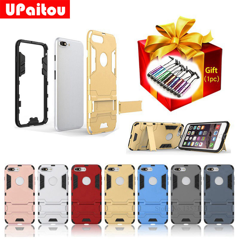 UPaitou Hybrid TPU PC Armor Shield Case For iPhone 7 Plus 5.5Stand Holder Protector Cover For iphone7Plus Back Cover Free Gift