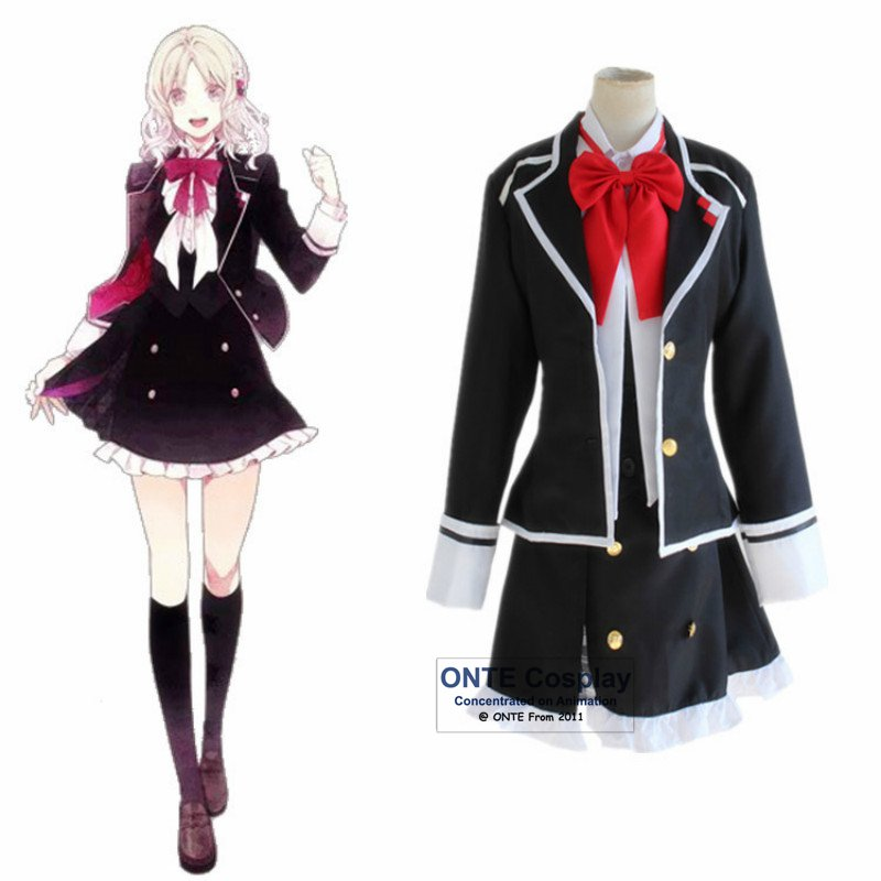 Anime DIABOLIK LOVERS Cosplay Costumes Women Komori Yui Clothing Fancy Party School Uniform Set for Halloween Masquerade