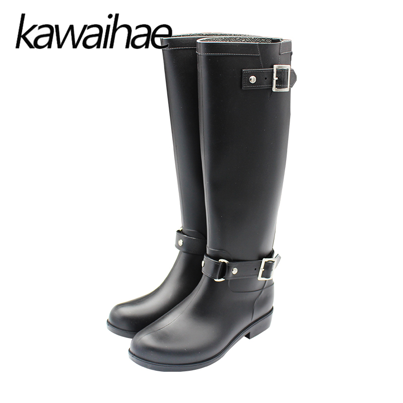 PVC Knee High Rubber Shoes Female Waterproof Rainboots Warm Women Rain Boots Kawaihae Brand Knight Riding Boots 933 stylish beads embellished round shape pendant necklace for women