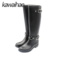 PVC Rodilla Cálido Mujeres Botas de Lluvia Rainboots zapatos de Goma Zapatos Impermeables Femeninos Kawaihae Marca Knight Botas de Montar 933