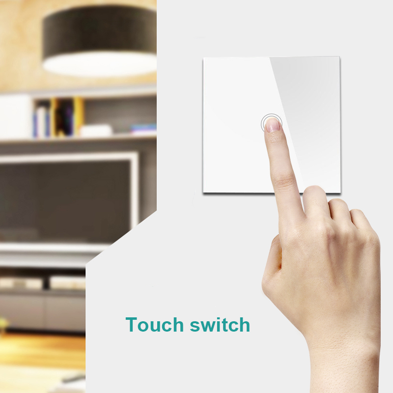 Anysane wireless remote control EU UK smart switch Touch led switch for smart home automation RF remote control wall switch smart home eu touch switch wireless remote control wall touch switch 3 gang 1 way white crystal glass panel waterproof power