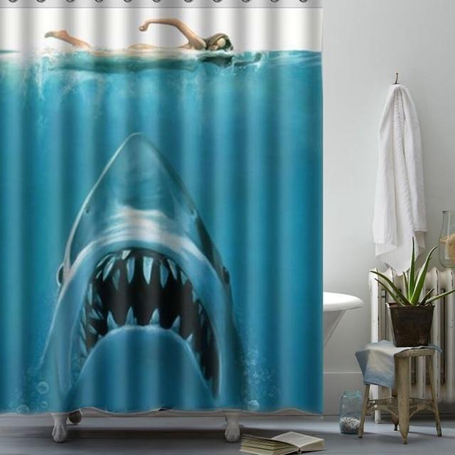 Newest 150x180cm Shark Underwater Jaws Theme Polyester Waterproof ...