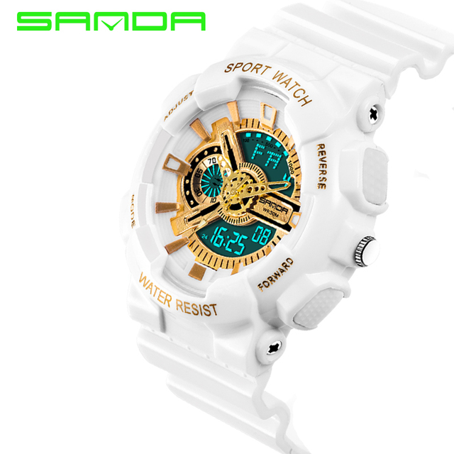 Sanda Sport Brand Electronic Watch Digital Men Wristwatches White G Style Shock