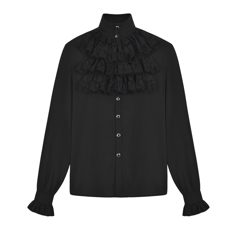 Black Layered Lace Ruffle Stand Collar Lantern Sleeve Medieval Costume Steampunk Gothic Clothing Victorian Mens Tuxedo Shirts