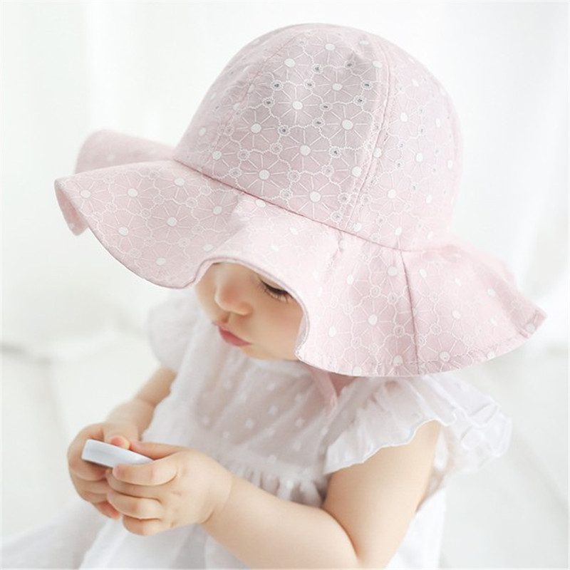 Hats & Caps Accessories Baby Girl Princess Cap Summer Baby Sun Hat Bow Solid Color Lace Hollow Toddler Kids Beach Bucket Hats New