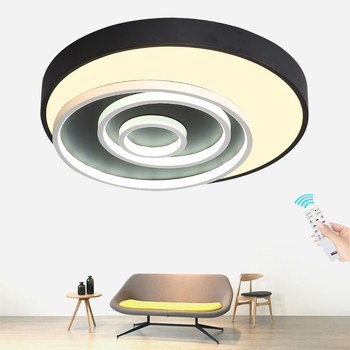 Creative Round LED Ceiling Lights Modern Surface Mount Flush Panel Remote Control Ceiling Lamp for Restaurant Foyer Bedroom