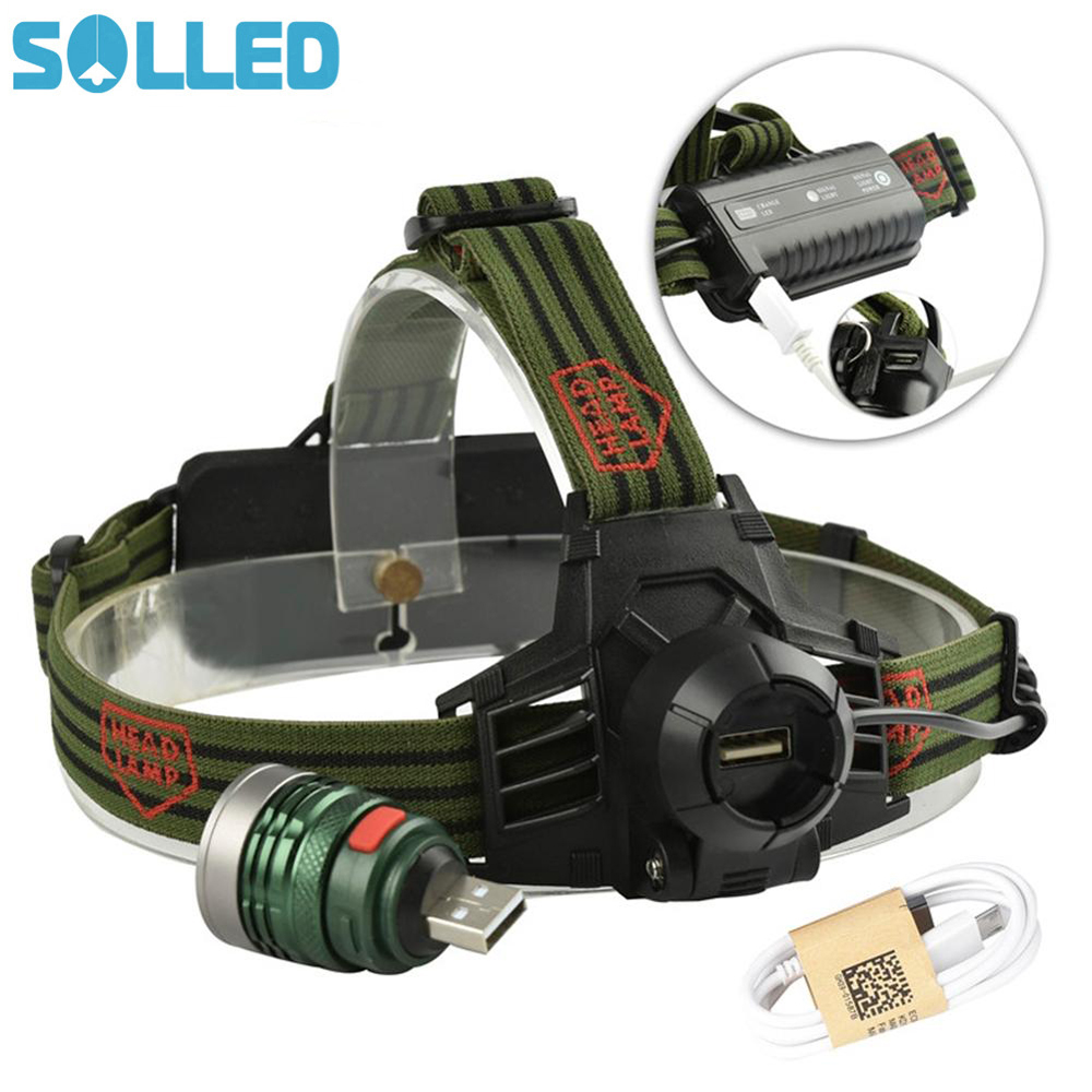 SOLLED Exquisite Strong Light Long Shot Headlamp for Outdoor Activity Hunting Fishing Detachable Lamp Cap USB Portable Torch