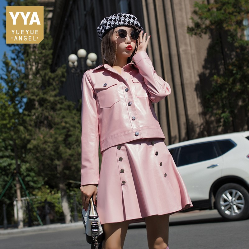 2019 New Women Colors Sheepskin Real Leather Two Piece Set Genuine Leather Jacket Coat High Waist Double Breasted Skirt Suit Set
