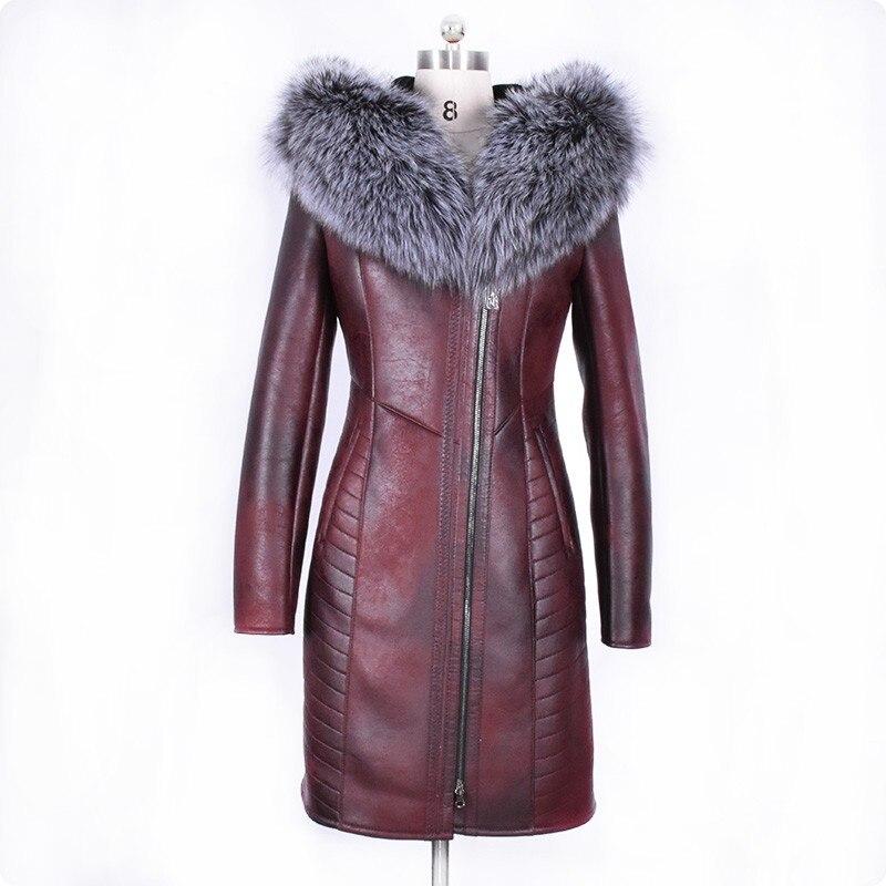 Зимние Модные женские натуральный мех Куртка с воротником теплое пальто женский Slim Fit с длинным рукавом бренд высокое качество женская одеж