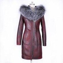 Winter Fashion Womens Real Fur Collar Jacket Warm Coat Female Slim Fit Long Sleeve Brand High Quality Ladys Clothing Plus Size