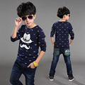 2017 fashion Spring Autumn children t shirts for boys long sleeve T-shirts Size 4T-12 child clothings kids tops tees make up