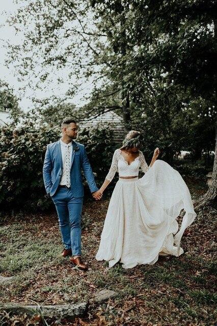 Beautiful Long Sleeve A-Line Two Pieces Beach Country Wedding Dresses 2020  Chiffon Ruffles Lace Top Boho Custom Made Bohemian 2