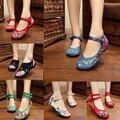 Nova Chegada do vintage Velho Pequim Chinês Sapatos de Salto Liso das Mulheres Com Flor Bordado Macio E Confortável Sapatas de Lona Tamanho 34-41
