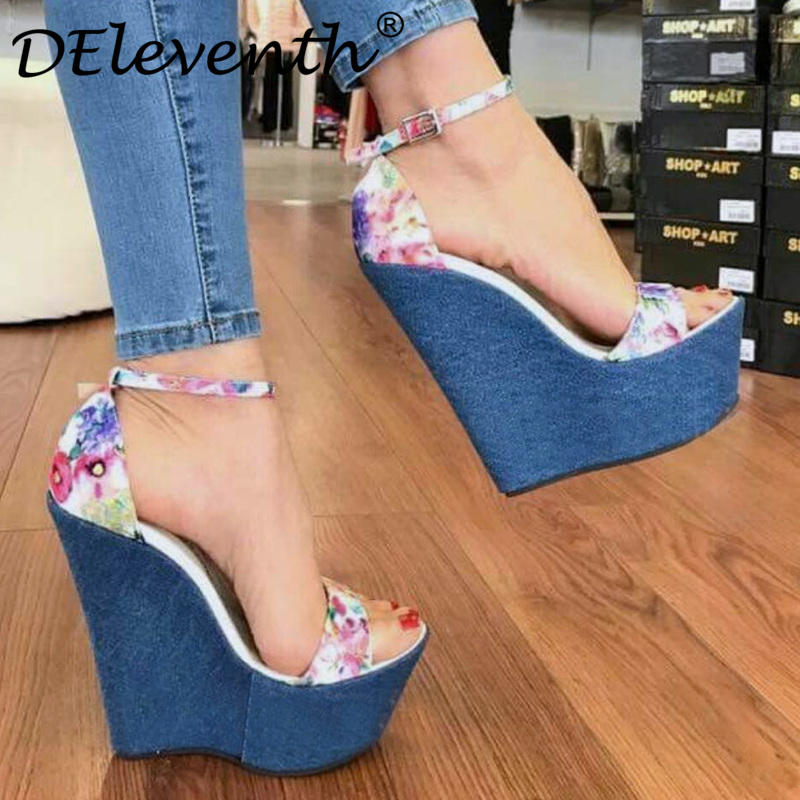 3f200151ee US $25.99 35% OFF|DEleventh 2019 fashion spring wedges female sandals super  high heels print denim cover shoes party platform open toe sandals 8.5-in  ...