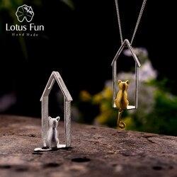 Lotus Fun Plata de Ley 925 auténtica joyería fina hecha a mano Original de oro lindo gato diseño colgante sin collar para las mujeres