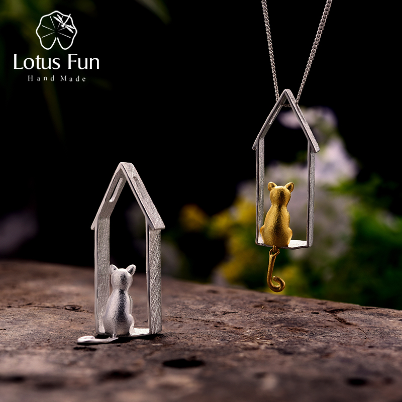 Lotus Fun Real 925 Sterling Silver Handmade Fine Jewelry Original Gold Cute Gazing Cat Design Pendant without Necklace for Women