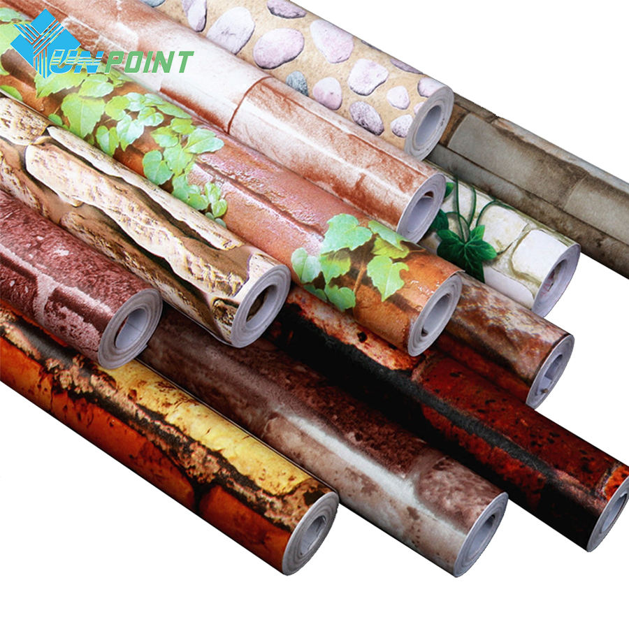 PVC imperméable auto-adhésif papier peint rouleau salon salle de bains cuisine décor à la maison amovible vinyle Vintage brique Stickers muraux