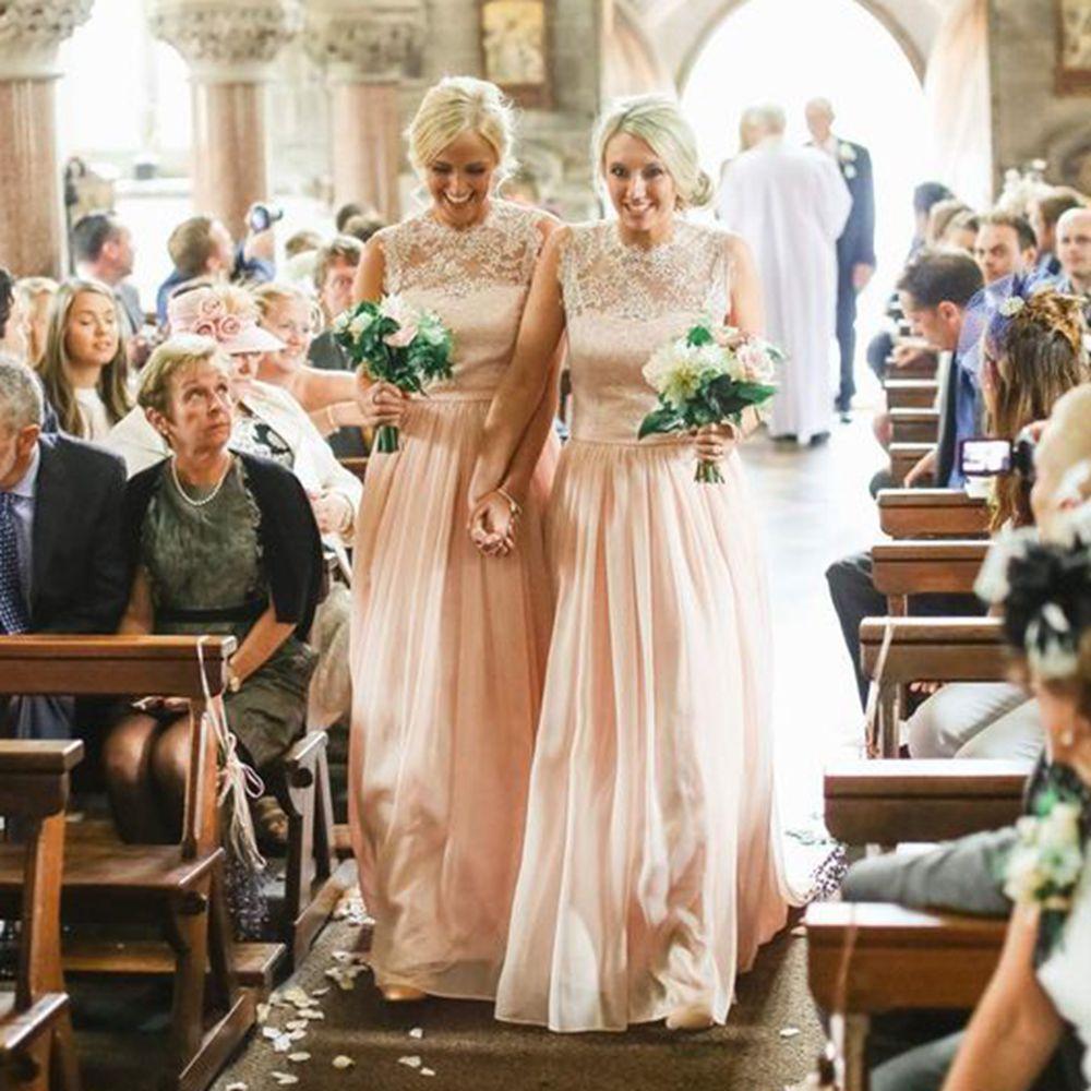 Pink Chiffon long Country Bridesmaid Dresses 2016 Crew Neck Cap ...