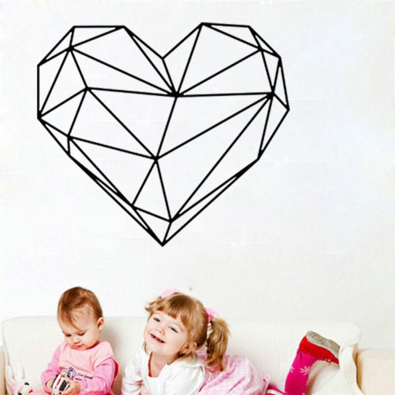 Wall Sticker Valentines Day Love Geometry Window Wall Sticker Mural Decor Decal Removable 5.8