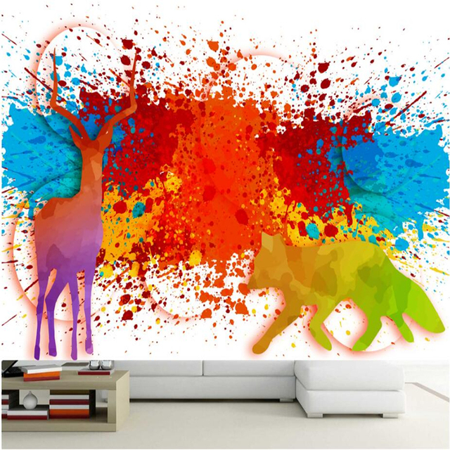 3d wall murals watercolor colorful animal world modern wallpaper